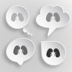 Kidneys. White flat vector buttons on gray background.