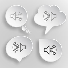 Loudspeaker. White flat vector buttons on gray background.