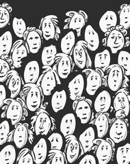 Women crowd -cartoon characters - dark background
