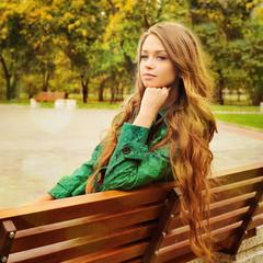 Girl outdoor portrait in park.