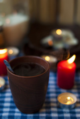 black tea and candles