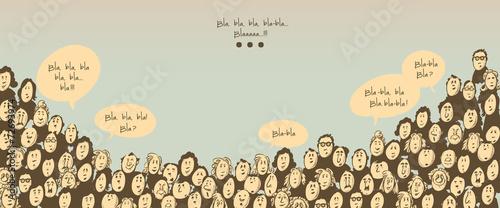 Crowd talking- cartoon characters - 72693974
