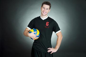 volleyball player black background