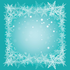 Christmas snowflakes on turquoise background.