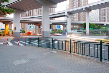 overpass bridge, low angle view at shanghai china.