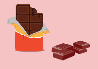 bite chocolate and chocolate pieces with cherry. illustration