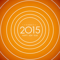 happy new year 2015 in circle ring pattern orange background