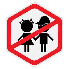 Children, not, allowed, sign, hexagon
