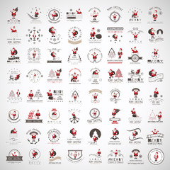 Santa Claus Icons And Elements Set - Isolated On Gray