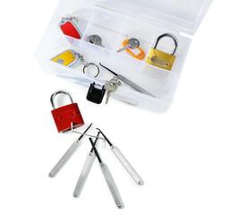 Set of keys, lock picks isolated on white