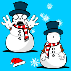 snow man cartoon xmas set4