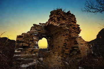 ruined great wall in the dusk