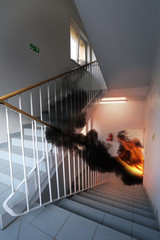 fire and emergency exit in the modern building