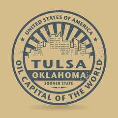 Grunge rubber stamp with name of Tulsa, Oklahoma