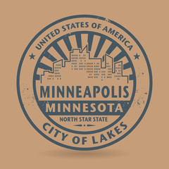Grunge rubber stamp with name of Minneapolis, Minnesota