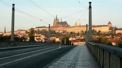 city - urban street (bridge) - Prague castle - nobody - morning
