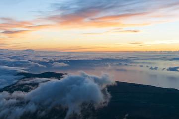 Sunrise at the peak of volcano Teide. Tenerife