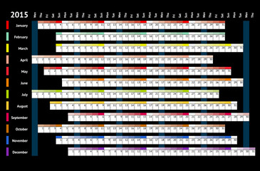 Black linear calendar 2015