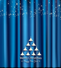 blue festive card for christmas and new year
