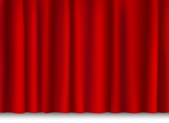 red shiny curtain