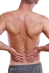 junger Mann hat Probleme mit dem Rücken