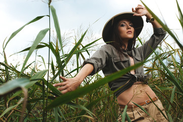 safari woman in swamp