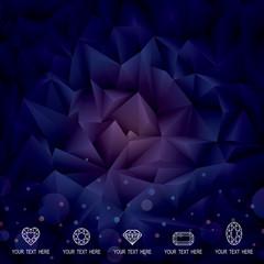 Abstract polygonal gems crystal dark background.