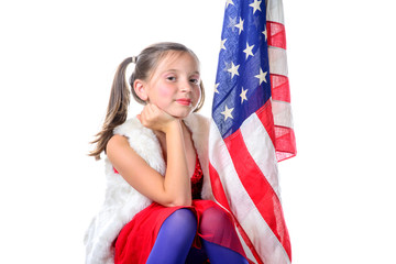 a pretty little girl with a american flag