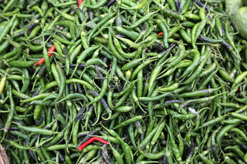 Green paprica in traditional vegetable market in India.