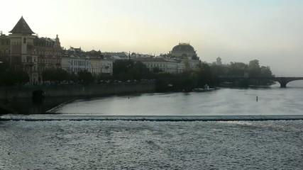 city (Prague, Czech Republic) - river Vltava - sunrise