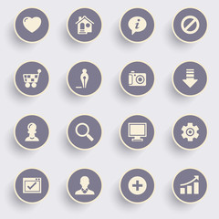 Basic icons with white buttons on gray background.