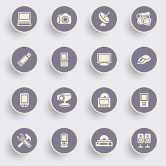 Electronics icons with white buttons on gray background.