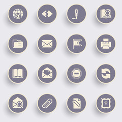 Email icons with white buttons on gray background.