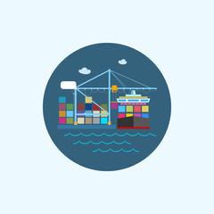 Icon with colored cargo container ship and cargo crane, vector