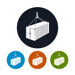 Icon container with crane , vector illustration