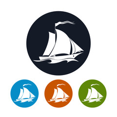 Sailing vessel icon, vector illustration