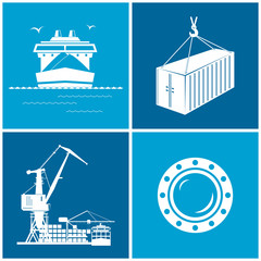 Set of maritime icons, vector illustration