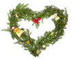Christmas frame in the shape of a heart with yellow decorations