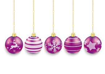5 Purple Christmas Baubles White Background