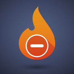Flame icon with a subtraction sign
