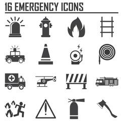 Emergency icons, mono vector symbols