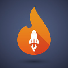 Flame icon with a rocket
