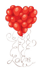 Valentine card -- Heart made of balloons