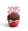 Happy new year 2015 isolated chocolate cupcake with candles