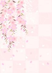 枝垂れ桜市松模様和紙風
