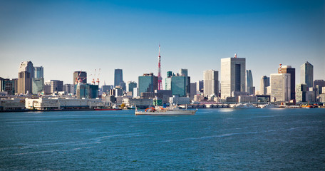 Panoramic view on Tokyo from Sumida River, Japan.
