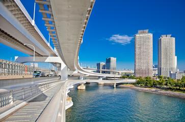 Rainbow Bridge and Sumida River in Tokyo, Japan.