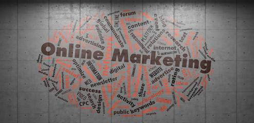 Online Marketing Tag Cloud auf Beton