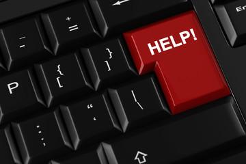 Help auf roter Taste auf Tastatur