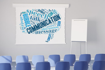 Communication Tag Cloud an Leinwand
